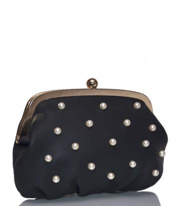 Черная сумочка-клатч Tosca Blu 1937B22 на цепочке декорированная бусинками