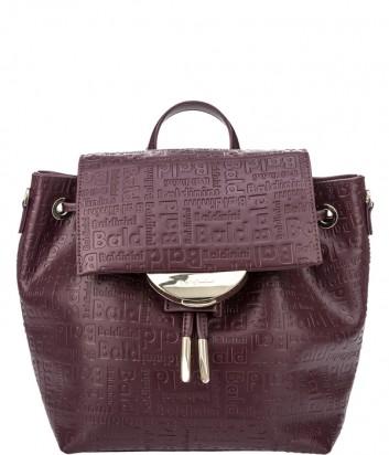 Бордовая сумка-рюкзак Baldinini 340042 в коже с тиснением