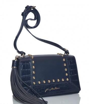 Синяя сумка Baldinini 260032 в коже с тиснением под крокодила