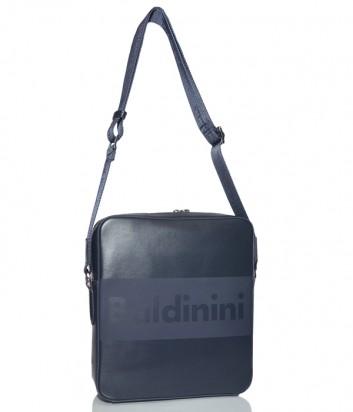 Мужская сумка Baldinini 920022 в гладкой коже с надписью бренда синяя