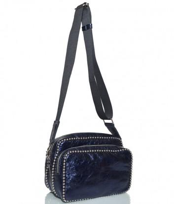 Кожаная сумка Fru.it с широким плечевым ремнем синяя