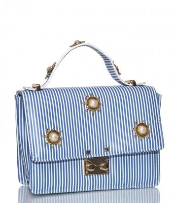 Кожаная сумка Paola Fiorenza Timoni с декором в бело-голубую полоску