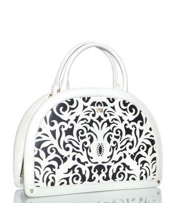 Белая кожаная сумка Cavalli Class Venus с резным узором