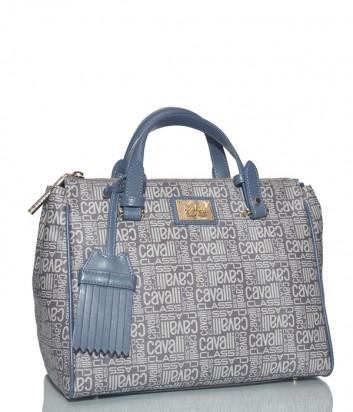 Серая сумка Cavalli Class Signature с надписями бренда