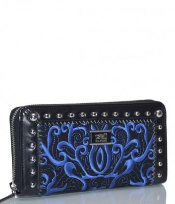 Черный кожаный кошелек Cavalli Class Delux с синей вышивкой