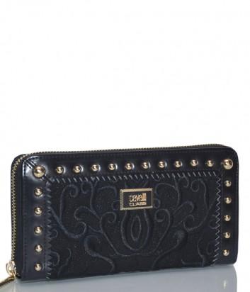 Черный кожаный кошелек Cavalli Class Delux с вышивкой в тон