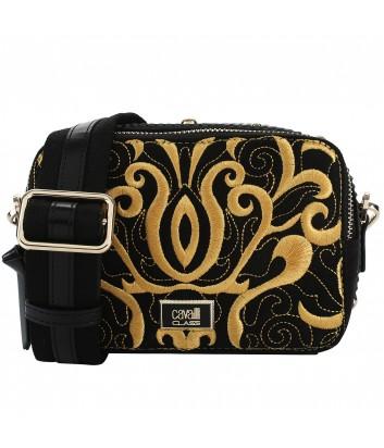 Черная сумка через плечо Cavalli Class Delux с янтарной вышивкой