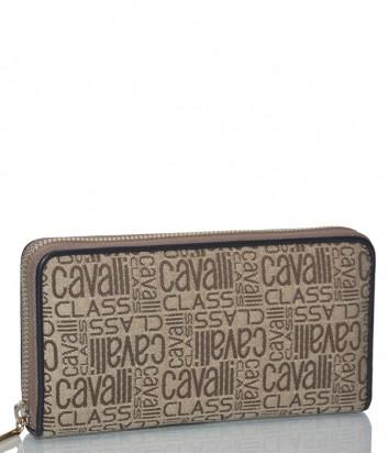 Женское портмоне Cavalli Class Signature с принтом и черным кантом