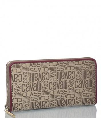 Женское портмоне Cavalli Class Signature с принтом и бордовым кантом