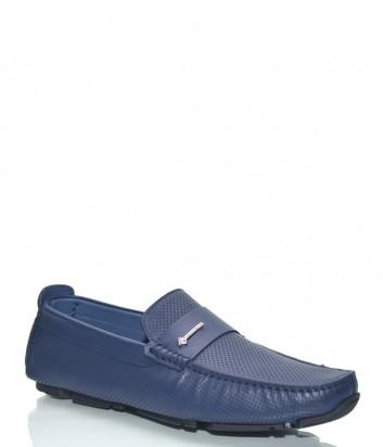 Мужские мокасины Luca Guerrini 10141 в перфорированной коже синие