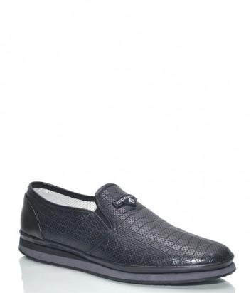 Мужские туфли Luca Guerrini 9974 в коже с тиснением черные