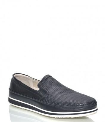 Черные туфли Fabi 8563 в коже с перфорацией