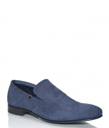Замшевые туфли Fabi 6638 с перфорацией синие
