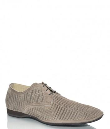 Мужские туфли Fabi 5591 в бежевой перфорированной замше