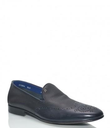 Мужские туфли Mario Bruni 61264 в коже с перфорацией черные
