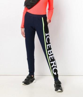Трикотажные штаны ICEBERG 037604 черные с надписью бренда