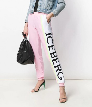 Трикотажные штаны ICEBERG 037604 розовые с надписью бренда