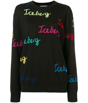 Черный свитер ICEBERG 027604 с цветными логотипами