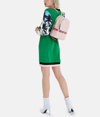 Зеленое платье ICE PLAY H011P520 с принтом и пайетками на рукавах