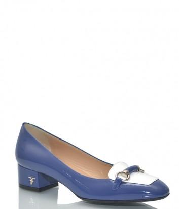 Лаковые туфли Marino Fabiani 1108 на маленьком каблуке синие