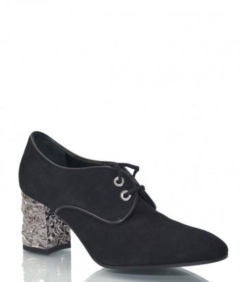 Черные замшевые туфли Roberto Festa 7051 на серебристом каблуке