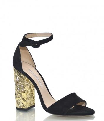 Черные замшевые босоножки Roberto Festa 193138 на золотом каблуке