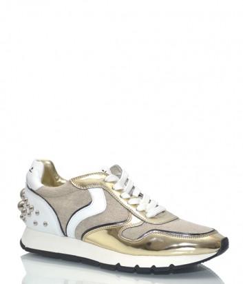 Кожаные кроссовки Voile Blanche 9107 с текстильными вставками золотые