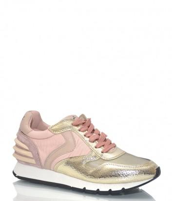 Кожаные кроссовки Voile Blanche 9118 с текстильными вставками пудрово-золотые