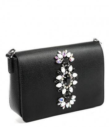 Кожаная сумка Gianni Chiarini 6315 декорированная кристаллами черная