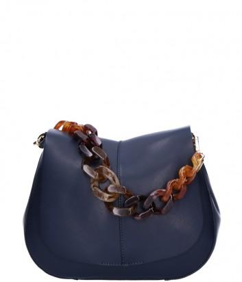 Кожаная сумка Gianni Chiarini 6766 на два отделения синяя