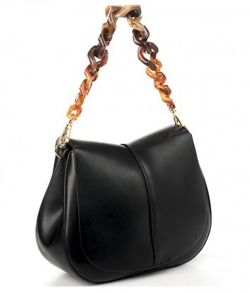 Кожаная сумка Gianni Chiarini 6766 на два отделения черная