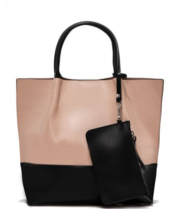 Комбинированная сумка-шоппер Gianni Chiarini 6940 в гладкой коже черно-бежевая