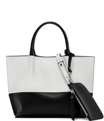 Комбинированная сумка-шоппер Gianni Chiarini 6937 в гладкой коже черно-белая