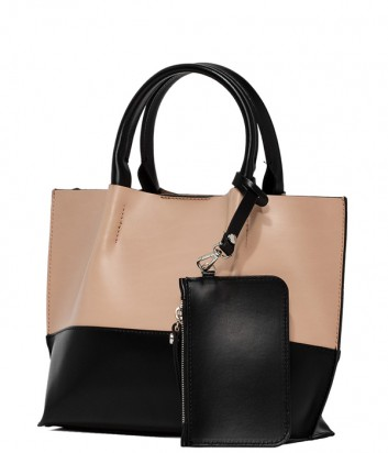 Комбинированная сумка-шоппер Gianni Chiarini 6937 в гладкой коже черно-бежевая
