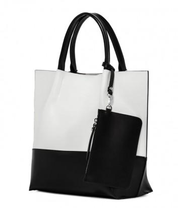 Комбинированная сумка-шоппер Gianni Chiarini 6940 в гладкой коже черно-белая