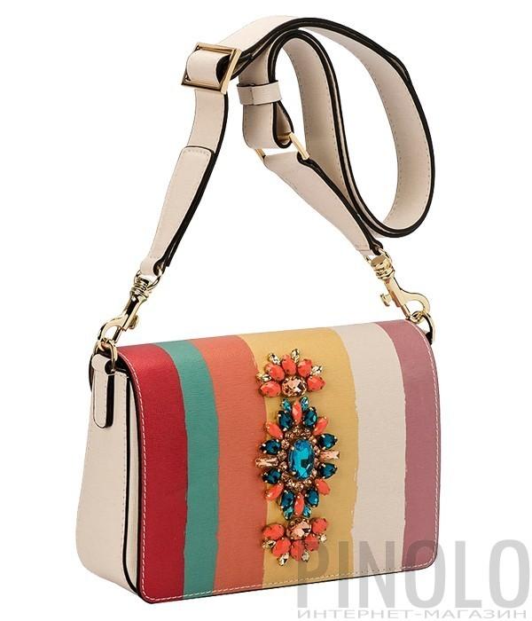 54b840d57dda Замшевая сумка Gilda Tonelli 8097 черная с серыми вставками - купить в  Интернет-магазине PINOLO