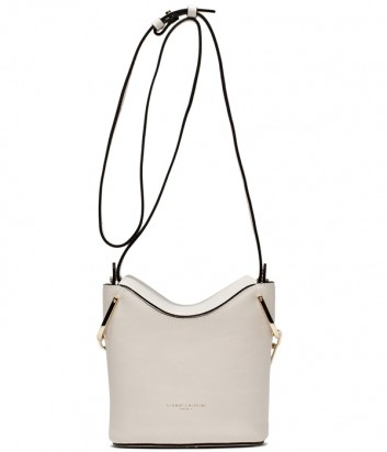 Кожаная сумка Gianni Chiarini 6224 с ручкой-цепочкой и плечевым ремнем белая