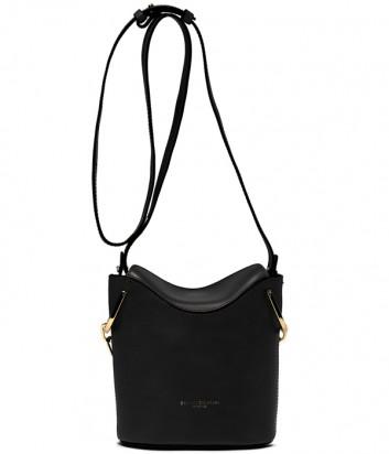 Кожаная сумка Gianni Chiarini 6224 с ручкой-цепочкой и плечевым ремнем черная