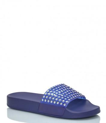 Шлепанцы Menghi 2047 с кристаллами синие