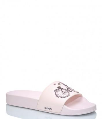 Розовые шлепанцы Menghi 2057 с рисунком