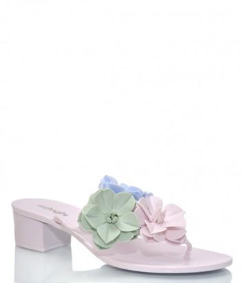 Розовые шлепанцы Menghi 825 с цветами