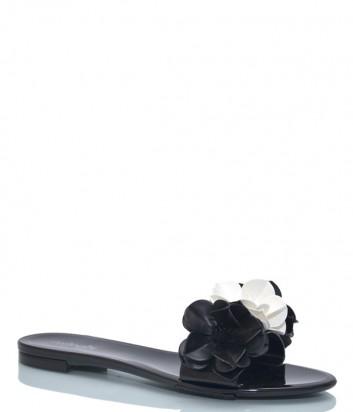 Черные шлепанцы Menghi 150 декорированные цветами