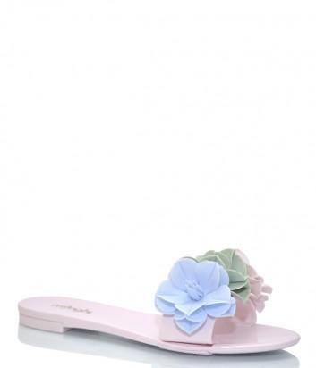 Розовые шлепанцы Menghi 150 декорированные цветами