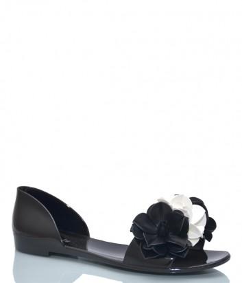 Черные шлепанцы Menghi 908 декорированные цветами