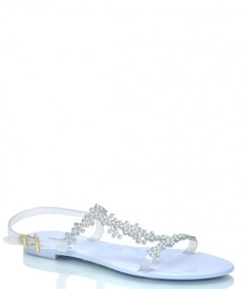 Голубые сандалии Menghi 707 декорированные кристаллами