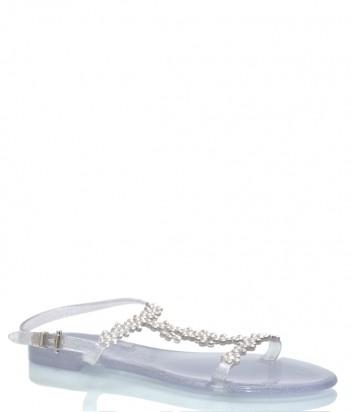 Серебристые сандалии Menghi 707 декорированные кристаллами