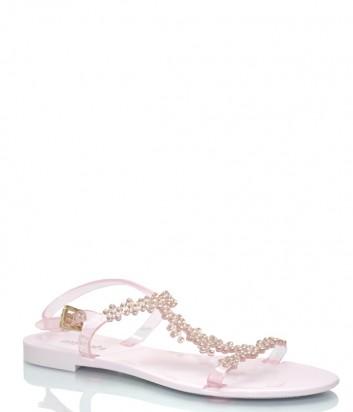 Розовые сандалии Menghi 707 декорированные кристаллами