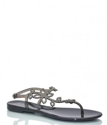 Черные сандалии Menghi 708 декорированные кристаллами
