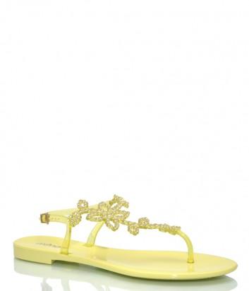 Желтые сандалии Menghi 708 декорированные кристаллами