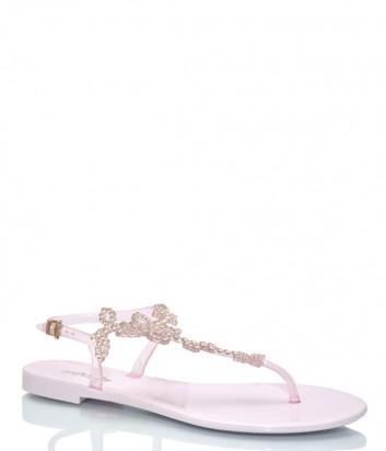 Розовые сандалии Menghi 708 декорированные кристаллами